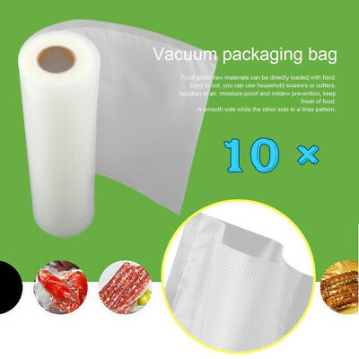 10×Vacuum Food Sealer Rolls Saver Bag Seal Storage Commercial Heat Grade 6MX28cm