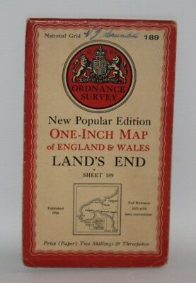 Ordnance Survey - One Inch Map - Land's End - Sheet 189 - 1946