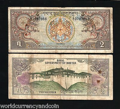 Bhutan 2 Ngultrum P6 1981 Dragon Palace Large World Money Bill Used Bank Note