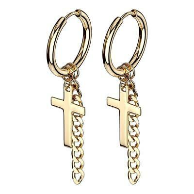 Pair of Gold Cross and Chain Dangle Hinge Action Seamless Hoop Earrings