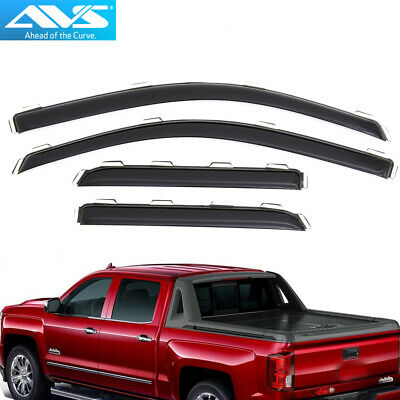 AVS 194528 In-Channel Vent Visor Rain Guards For Silverado / Sierra Double Cab