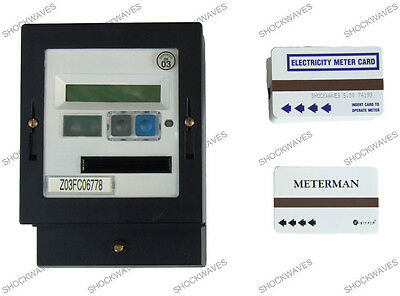 AMPY Cardmeter Prepayment Electric Slot Meter & 50 x £5 Cards Electricity 100A