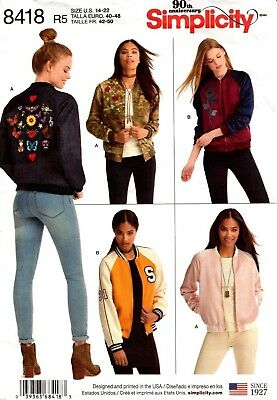 Simplicity Sewing Pattern 8418 Womens Bomber Jacket Sewing Pattern Size 14-22