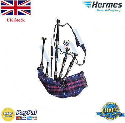 Great Highland Bagpipe Silver Amounts/Scottish Bagpipe with FREE chanter and bag