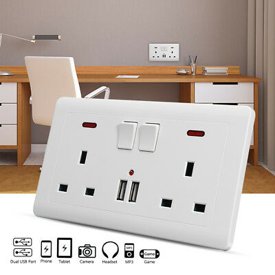Double Wall Plug Power Socket 2 Gang + 2 USB Charger Ports UK Plugs Switch Plate