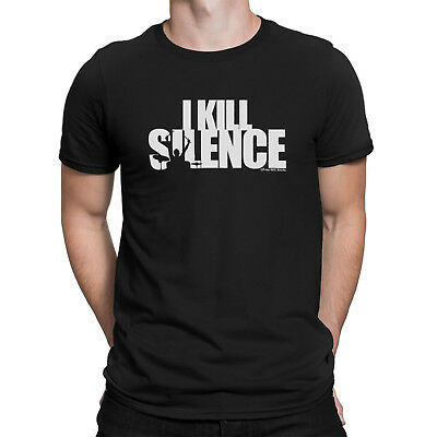 Mens Funny I KILL SILENCE Drumming Drummer Drum Kit Sticks Music Novelty T-Shirt