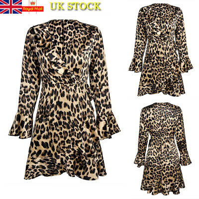 Women Leopard Print Long Sleeve Frill Hem Dress Party Sexy V Neck Bodycon Dress