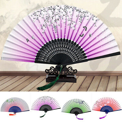 Chinese Flower Lace Silk Folding Hand Held Fan Wedding Dancing Party Prom
