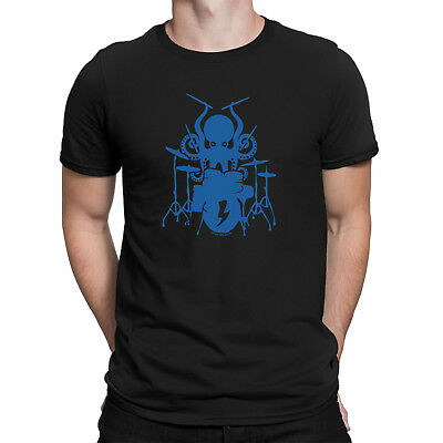 Mens Funny OCTOPUS DRUMMER Drum Drumming Music T-Shirt Instrument Sticks