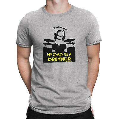 Mens MY DAD IS A DRUMMER Baby Drumming Drum Sticks Music Funny T-Shirt