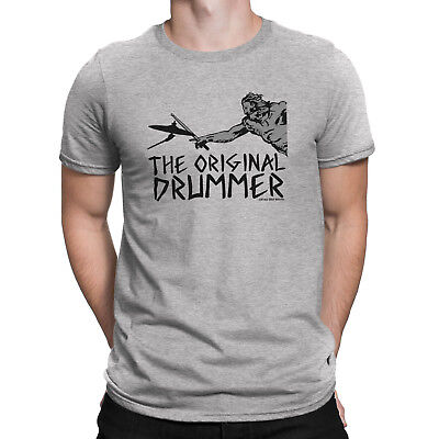 Mens Funny THE ORIGINAL DRUMMER Drum Drumming Music T-Shirt Instrument