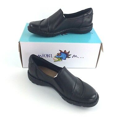 dbb600ac7897a Michel M Women Leather Slip On Loafer Shoes Black Casual 7 10 Fran New In  Box