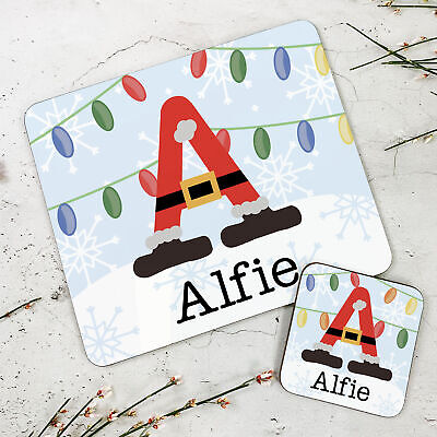 Personalised Kids New Santabet Wooden Glossy Placemat and Coaster Set