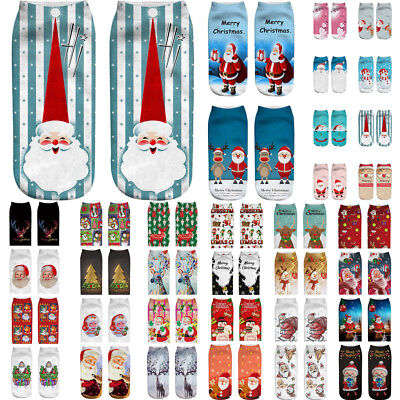 Unisex Women Christmas Style Funny 3D Printed Casual Socks Low Cut Ankle Socks