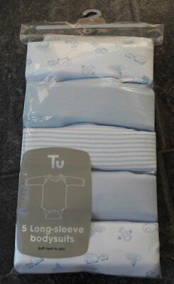 Ex store 5 long sleeve 100% cotton bodysuits 12-18 months New with in packet