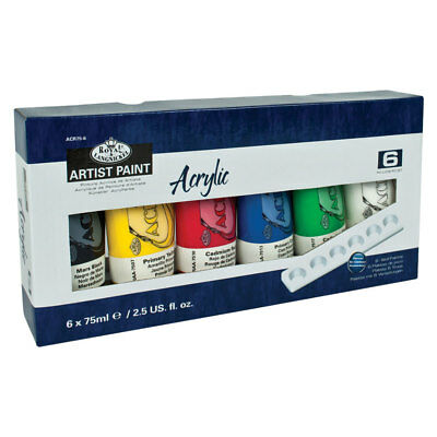 Royal & Langnickel Acrylic Paint Starter Gift Set of 6 x 75ml Colours & Palette