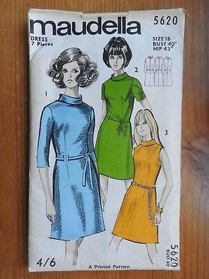 Vintage Maudella sewing pattern 5612  dress with ruffle collar NEW UNCUT 1960s
