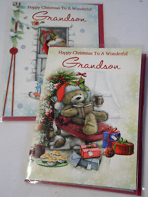 GRANDSON CHRISTMAS CARDS JUST 30p,12 CARDS,2 DESIGNS,WRAPPED FOILED (B623