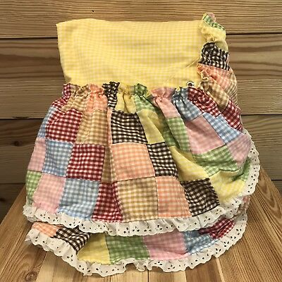 Handmade Cribskirt Dust Ruffle Patchwork Gingham Multicolor Lace Vintage Yellow