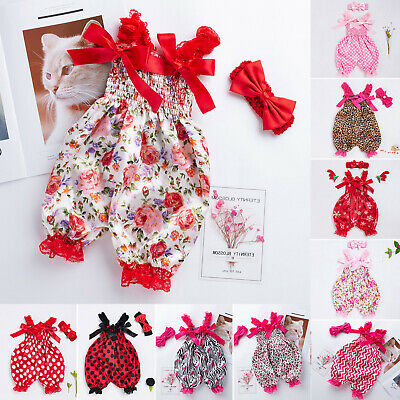 Newborn Baby Girls Bow Jumpsuit Bloomers Pants Toddler Overalls Outfits Jumpsuit