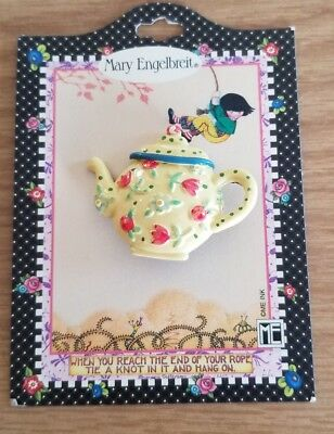 New! VINTAGE MARY ENGELBREIT PIN BROOCH NOS Teapot 90'S