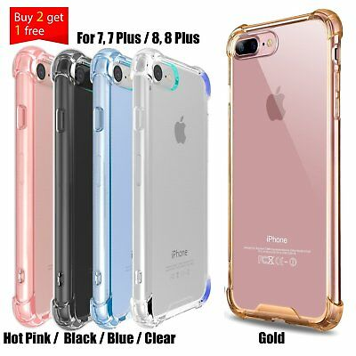 Slim Crystal Clear Case Hard Shockproof Bumper Hybrid Cover For iPhone 7 8 Plus
