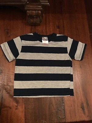 Kid Connection Gray & Navy Striped Short Sleeve T-Shirt in Boys Size 24 Months