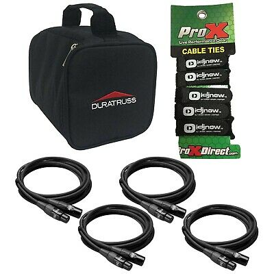 (4) Hosa 10ft XLR Black Microphone/Speaker Cables + Carry Bag + Cable Ties