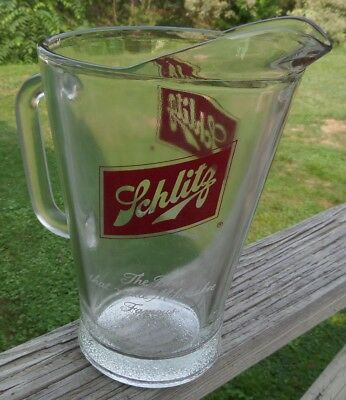 """Vintage SCHLITZ Beer that made Milwaukee Famous Heavy Pub Glass Pitcher 9"""" Tall"""