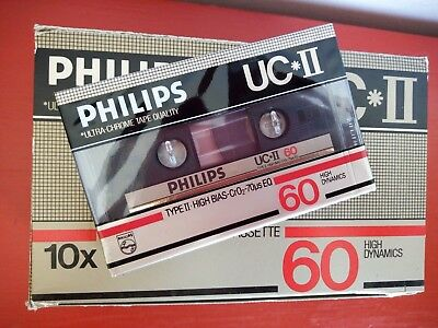 CASSETTE TAPE BLANK SEALED  1x PHILIPS UC*II 60 [1984-85] made in Belgium
