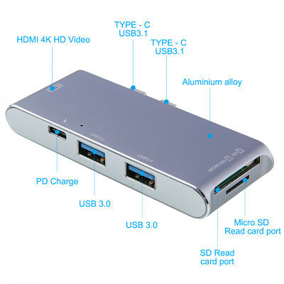 USB-C Hub Aluminum Multi-Port Adapter HDMI Output For Google Chromebook DELL NOT