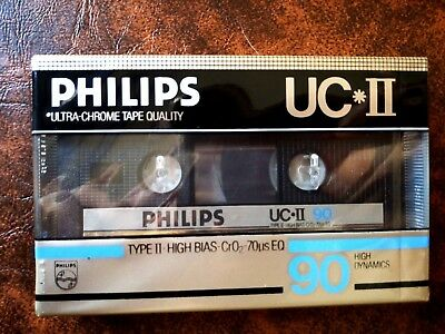 CASSETTE TAPE BLANK SEALED  1x PHILIPS UC*II 90 [1984-85] made in Belgium