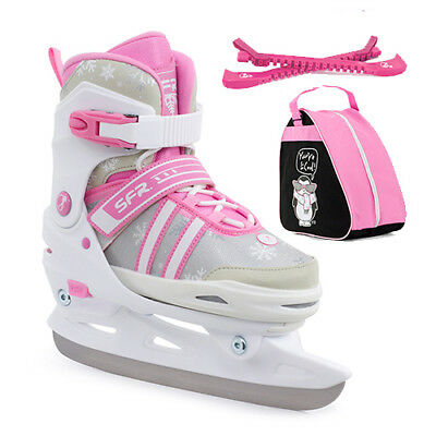 SFR Nova Adjustable Ice Skates Children's Girl's White/Pink - Optional Skate Bag