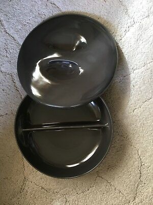 Russel Wright Divided Casserole Dish Large Iroquois Casual China Charcoal