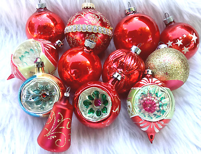 Set of 12 Vintage Christmas Ornaments Red/Polish/Shiny Brite/Indented/Mercury
