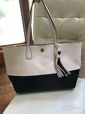 fc60599f86fa NWT Tory Burch New Ivory Black Color-Block Leather Perry Tote Handbag MSRP   450