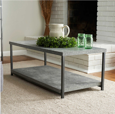Household Essentials Style Faux Concrete Top Modern Coffee Table Grey