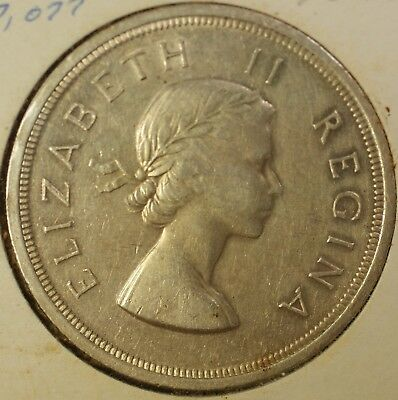 1957 South Africa 5 Shillings 1 Crown Circ Queen Elizabeth Silver Visit Coin