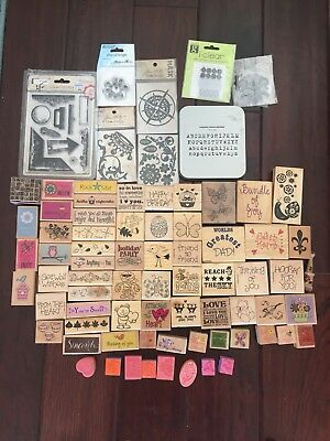 Huge Lot Of Wood Rubber Stamps Random Stampin up Plus more Cling Stamp Alphabet