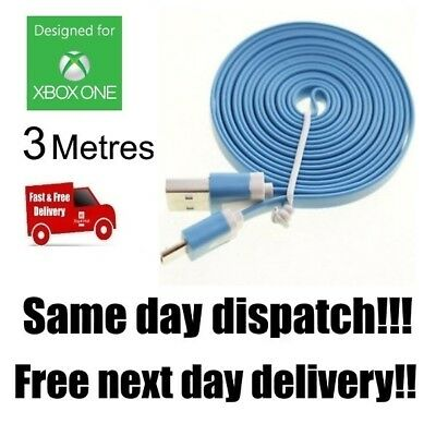 BLUE Xbox One Controller Charging Cable 3 Metre 3m Long Lead USB UK Stock C105F