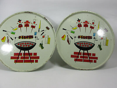 "2 1950s Metal Grilling Steak BBQ Serving Trays 14.5"" Vintage Retro MCM Set"