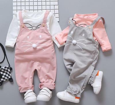 2pcs baby kids girls clothes daily spring fall outfits top+rompers overall CAT