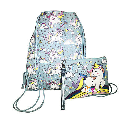 Unicorn Drawstring Backpack Girls Princess Swim Kids Sling Party Bag W/ Wallet