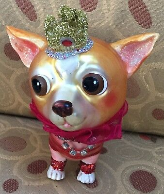 Crowned Chihuahua Dog glass ornament