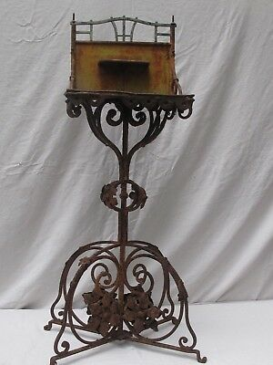 Antique Cast Iron French Washstand Ornate Rusty and Great