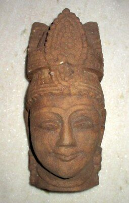 Antique Old Solid Sand Stone Hand Carved Hindu God Head Bust Face Figure Statue