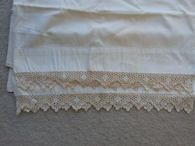 Vintage Pair Of Pillowcases White & Fancy  Crocheted Trim