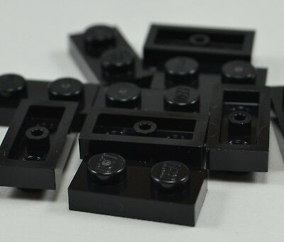 LEGO 1x2 Plates w// Stick 3.18 Black---Lot of 10 4225201
