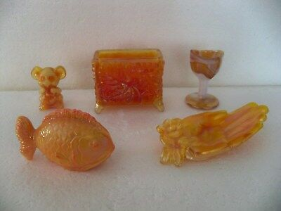 Lot Of Five (5) Boyd Carnival Glass Mouse-Fish-Hand-Card Holder-Eye Cup
