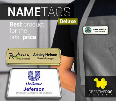 1X3 Personalized Name Tag Badge Pin Customized Full Color Printing - Deluxe